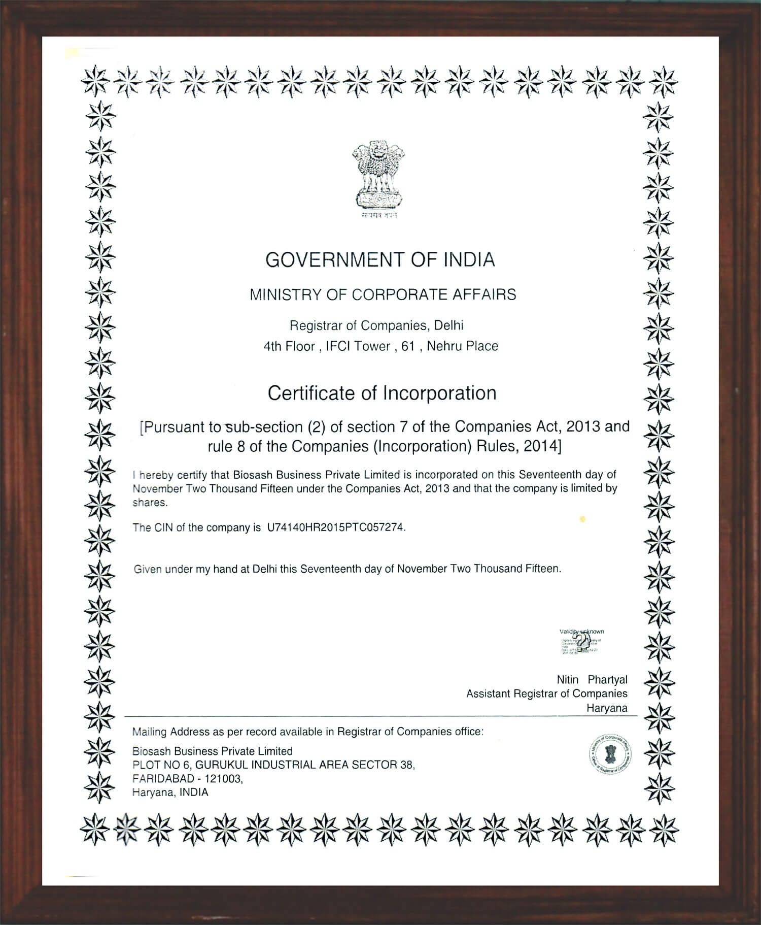 Certificate of Incorporation by Government of India