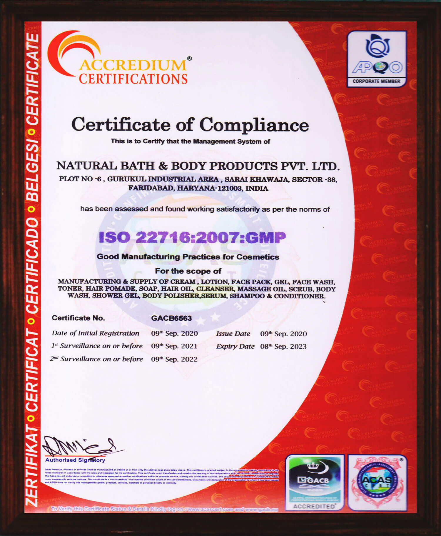 Certificate of ISO 22716:2007:GMP