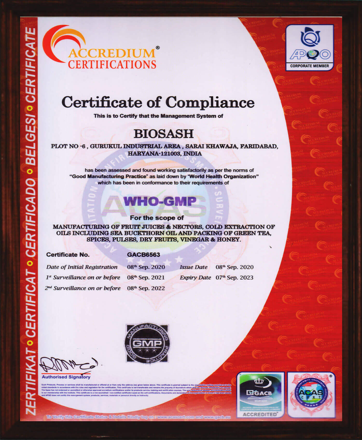 Certificate of WHO-GMP
